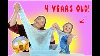 I TEACH A 4 YEAR OLD HOW TO MAKE SLIME | teaching my boyfriends sister how to make slime