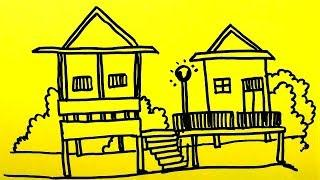 How To Draw Traditional Thai House Step by Step