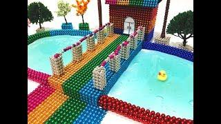 DIY - How To Make Rainbow House, Swimming Pool With Magnetic Balls And Slime | Magnetic Toy