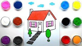 Colored House Sand Painting | How to Make Sand Painting | Sand Painting art for Kids