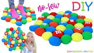 DIY M&M's Rug Out Of Old T-Shirts - How To Make A No-Sew Rug Shaped Like A Bunch Of Giant Candies
