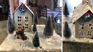 Painted Christmas Church Diy Using Walmart House 2018