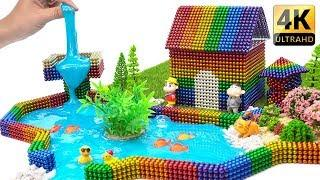 DIY - How To Make Rainbow Lake House With Magnetic Balls And Slime - ASMR 4K - Magnet Balls