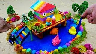 Bingo | How To Make Rainbow House On Stilts with Kinetic Sand Slime Fun Toys Learn Colors Kids Songs