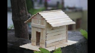How to make a popsicle stick house   DIY Miniature