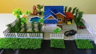 How to Make a Beautiful Mansion House with Fairy Garden and Pool - Diy Cardboard Projects
