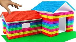 DIY How To Make Mad Mattr Brick House Kinetic Sand Play Doh Rainbow with Dog Toys for Kids