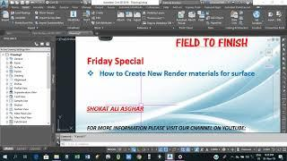 How to create new render materials for surface in civil 3d