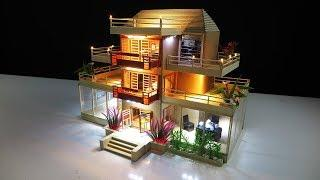 How to make a Beautiful Villa House From Cardboard With LEDs Light - Dream House