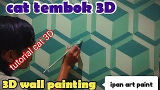 Cat tembok 3D- 3D wall painting- wall art painting- tutorial cat tembok motif 3D