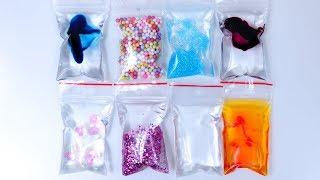 MAKING SLIME WITH MINI BAGS | How to make DIY slime with bags