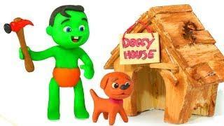 FUNNY KIDS MAKE A DOG HOUSE ❤  Play Doh Cartoons For Kids