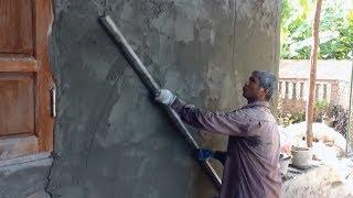 House Construction - How To Sand and Cement Rendering on Wall or Concrete