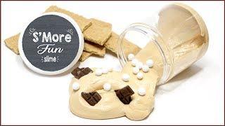 DIY S'Mores Slime - Easy Fluffy Slime Recipe No Borax - FREE Printable