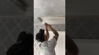 How To Glitter Spray Walls. Metallic Silver Glitter ceiling