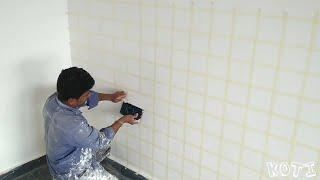 How to make easiest way to brick wall texture Asian paints