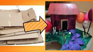 How to Make a Small Cardboard House for Kids - DIY Cardbord House for Kids