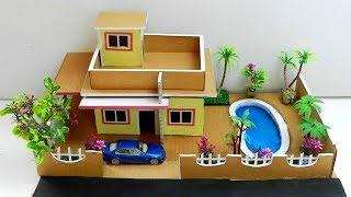 How To Make A Beautiful Mansion House with Pool and Garden Using Cardboard