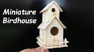DIY Popsicle Stick Miniature Birdhouse, Ice Cream Stick Craft Ideas | How to make a house