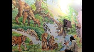 | Wall painting | jungle wall art | mural painting | thoughts on wall | by artist ns kumbar