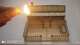 How to make a match house ???? ???? fire ???? at home || Match stick house NOT FIRE