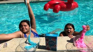 MAKING SLIME IN THE POOL - NEW KARINA GARCIA PINK AND BLUE SLIME BUNDLE KIT