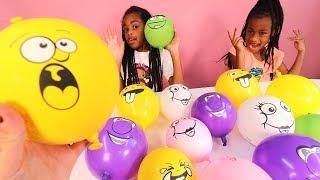 Making Slime with Funny Face Balloons